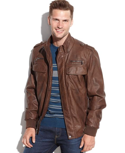 brown faux leather brown faux leather bomber jacket fit jacket