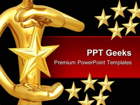 ppt templates for rewards star hovering between hands abstract powerpoint templates