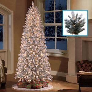 8 ft flocked slim christmas tree 9 ft pre lit slim tree flocked snow artificial pine trees with lights ebay