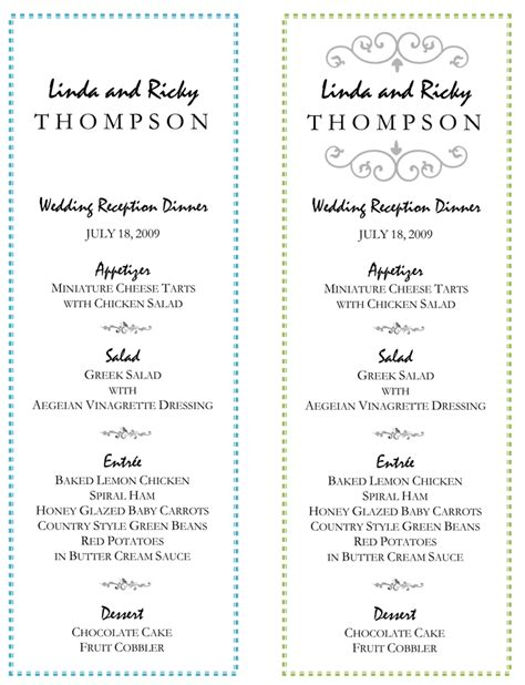 wedding menu template 5 plus printable designs