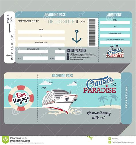 boarding card templates cruises to paradise boarding pass design stock vector