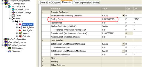 konfiq axis configuring the main parameter selecting the reference
