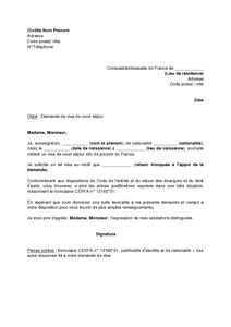 Lettre Pour Un Refus De Visa Exemple Gratuit De Lettre Demande Visa Court S 233 Jour Par 233 Tranger