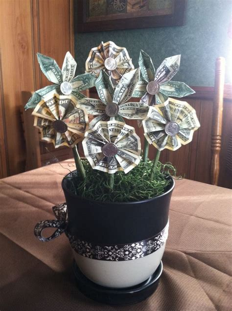 Origami Dollar Flower - flowers made of money origami money flower gift wedding