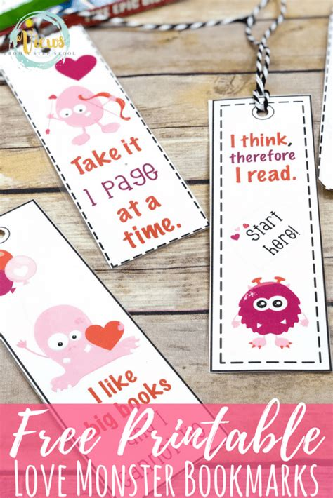 printable bookmarks valentine s day free printable bookmarks funny monster valentine s day