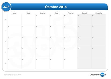 Calendrier Octobre 2014 Calendrier Octobre 2014