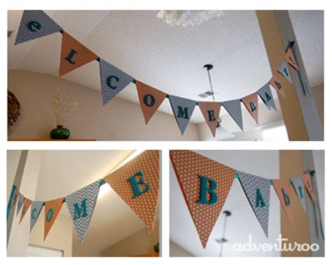 How To Make A Paper Pennant Banner - teal and orange baby shower for my
