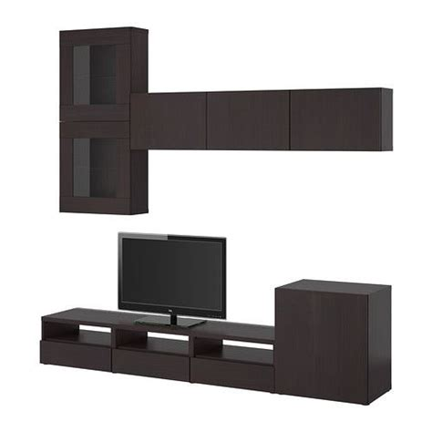 besta tv storage unit best 197 tv storage combination glass doors black brown