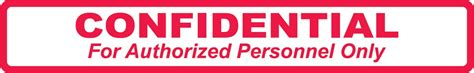 Confidential Search Arden Label A1019 Confidential For Authorized Personnel Only Label