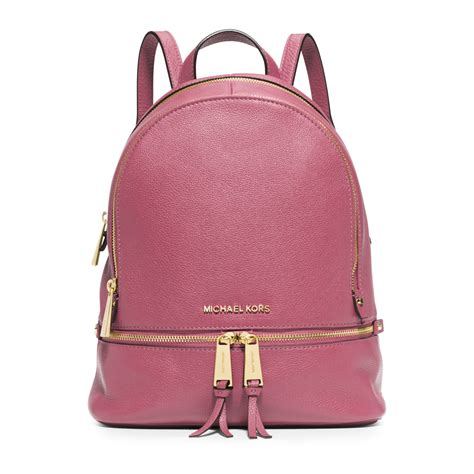small backpack michael kors rhea small leather backpack in purple tulip lyst
