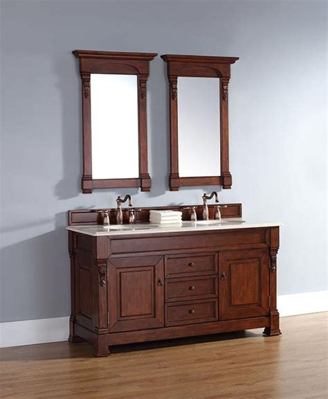 Bathroom Vanity Experts Martin Brookfield 60 Inch Transitional Bathroom Vanity Warm Cherry