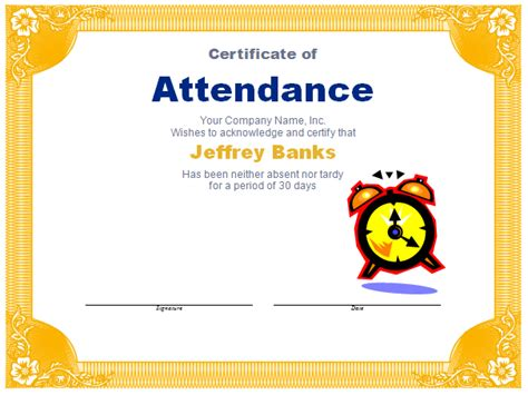 attendance award template free award templates new calendar template site