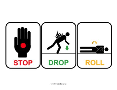 printable stop drop roll sign sign