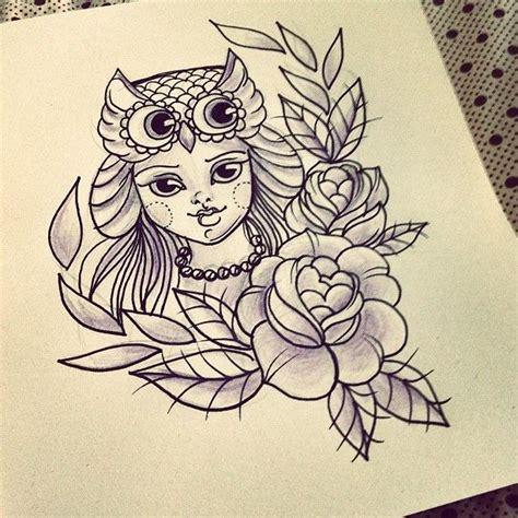 tattoo love draw work ink draw tattoo owl roses girl tattoo id 233 ias
