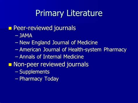 Peer Reviewed Literature Journals information resources review ppt