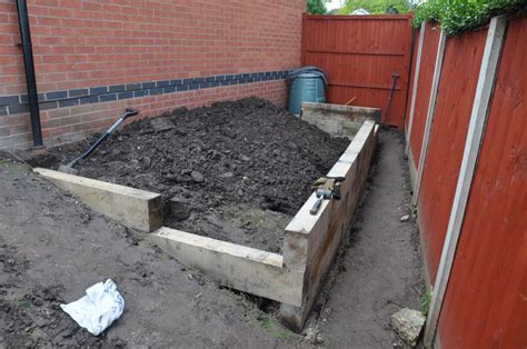 raised bed with stairs simon s raised bed stairs from new oak railway sleepers