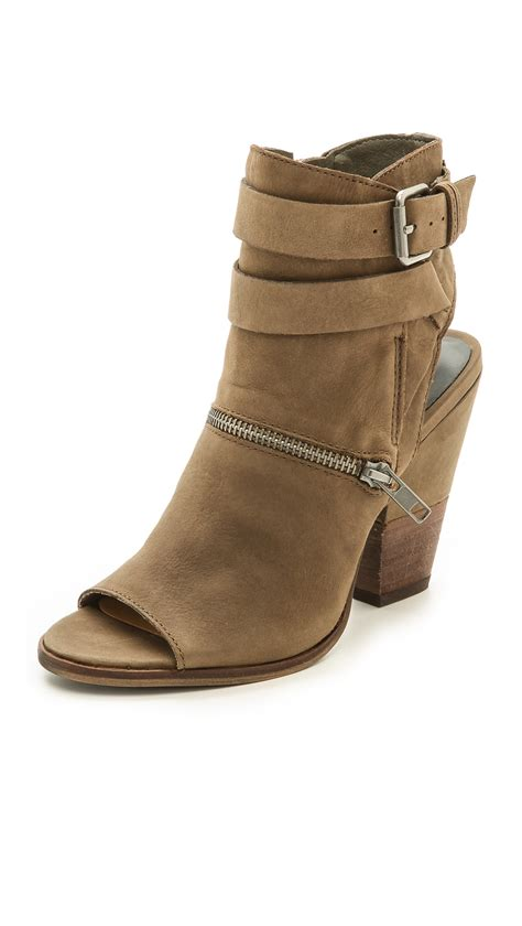 For Dolce Vita by Dolce Vita Nayla Open Toe Booties Moss In Brown Moss Lyst