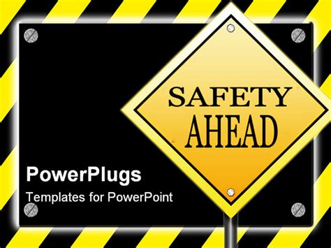 free safety powerpoint templates a black sign with silver screws glowing yellow