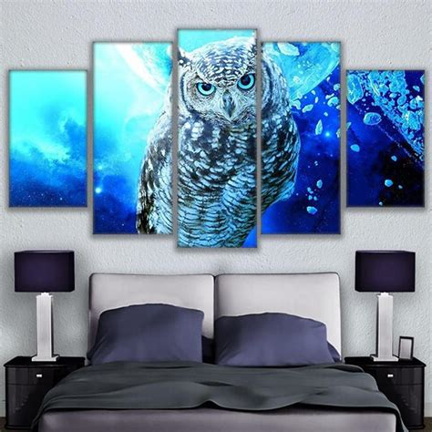 canvas paintings wall art pictures  pieces blue owl