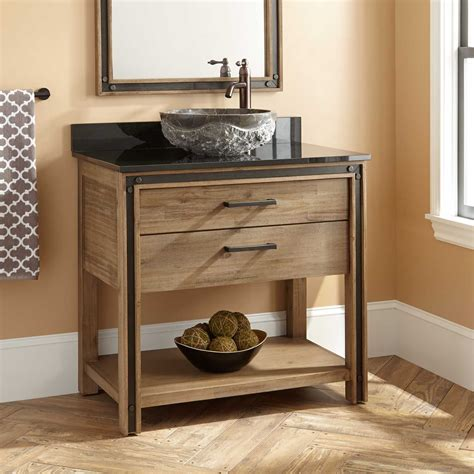 36 quot celebration vessel sink vanity rustic acacia bathroom