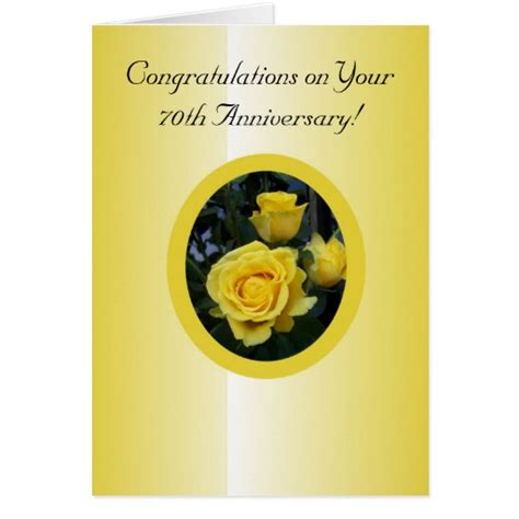 70th Wedding Anniversary Card Uk by Yellow 70th Wedding Anniversary Greeting Card Zazzle