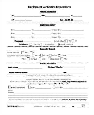 Previous Employment Verification Forms Beneficialholdings Info Employment Verification Request Form Template