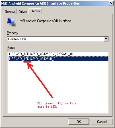 how to get vendor id of an android powered device via adb