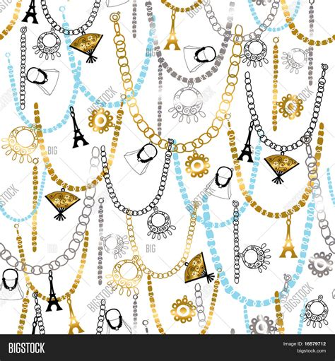 vector pattern jewelery charms necklaces and jewelry seamless repeat pattern