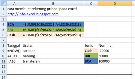 Menguasai Fungsi Dan Formula Ms Excel Tingkat Lanjut S1083 cara membuat rekening pribadi pada excel 2007 info excel