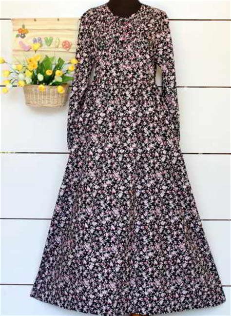 Promo Gamis Motif Gamis Dress Gm043 Terbaru baju bahan katun jepang hitam motif bunga rp 50rb model baju muslimah modern terbaru