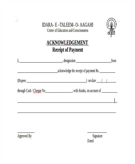 Acknowledgement Of Payment Receipt Template by Acknowledgement Receipt Templates 9 Free Word Pdf