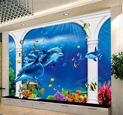 wallpaper dinding laut laut motif hewan rumah tangga kontemporer dinding mural