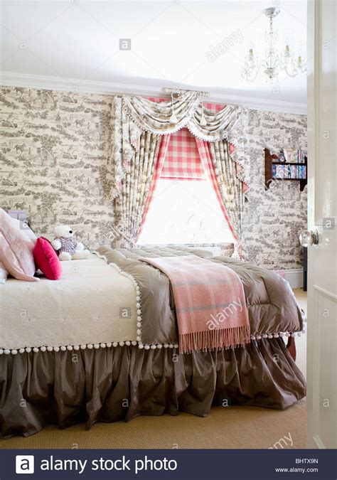 country bedroom curtains grey toile de jouy wallpaper and curtains in country