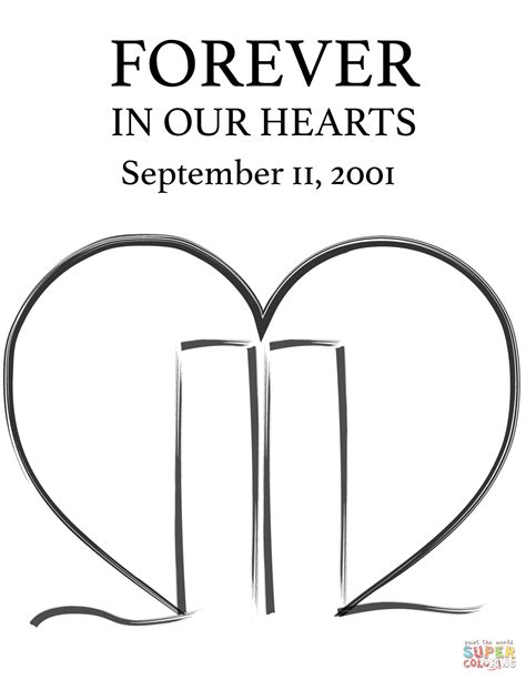 Coloring Page For 9 11 by Forever In Our Hearts September 11 2001 Coloring Page