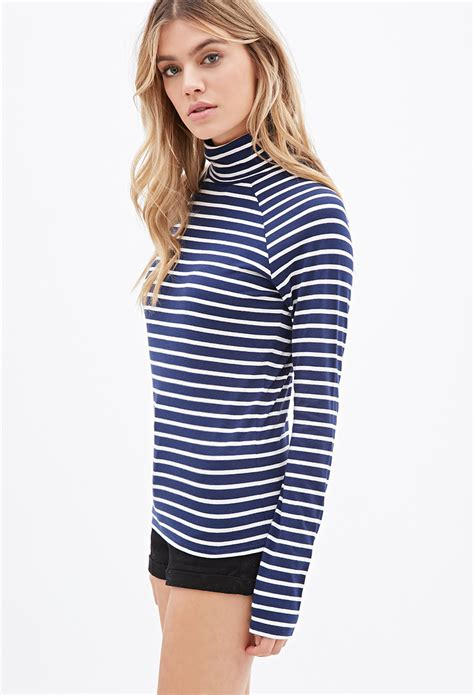 turtleneck stripe top lyst forever 21 striped turtleneck top in blue