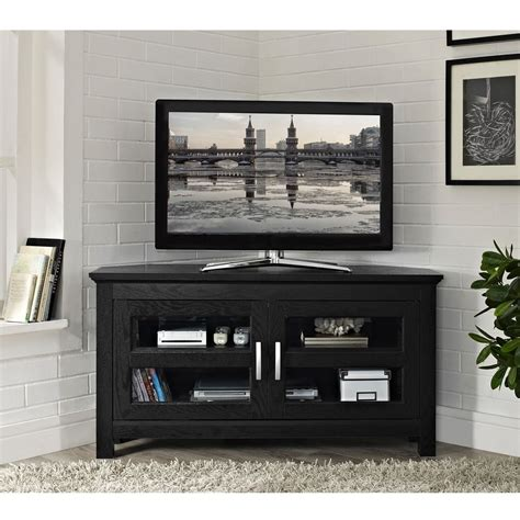 inch tv stand black corner inspirations and small for black wood 44 inch corner tv stand ebay