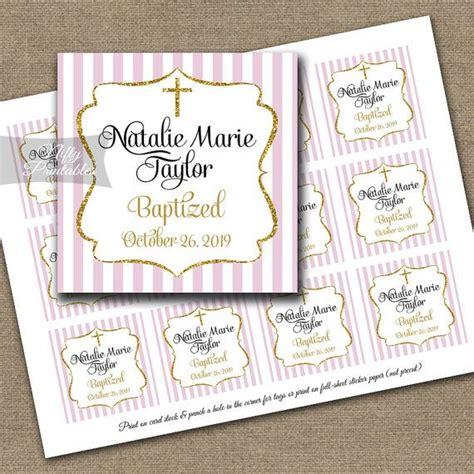 printable gift tags for christening baptism favor tags printable pink baptismal favor tags