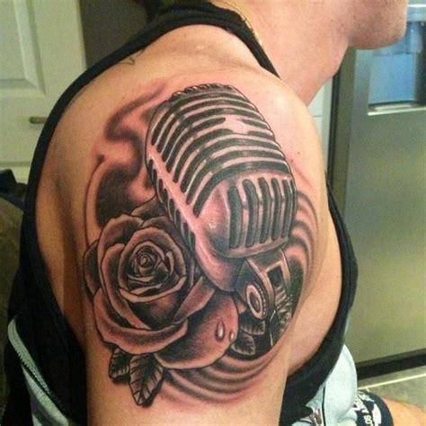 microphone bird tattoo rose and microphone tattoo