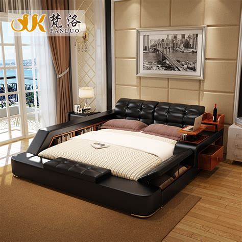 modern leather size storage bed frame with side storage cabinets stool no mattress bedroom
