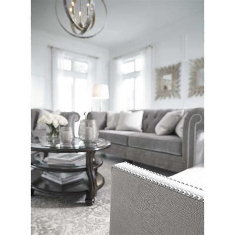 silver tufted sofa tiarella silver tufted sofa 7290138 furniture afw