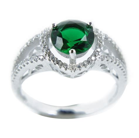 luxurious antique 1 carat created green emerald engagement