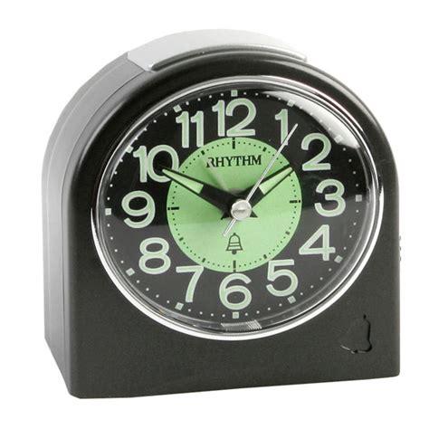 high quality small rhythm travel alarm clock metallic black luminous loud ebay