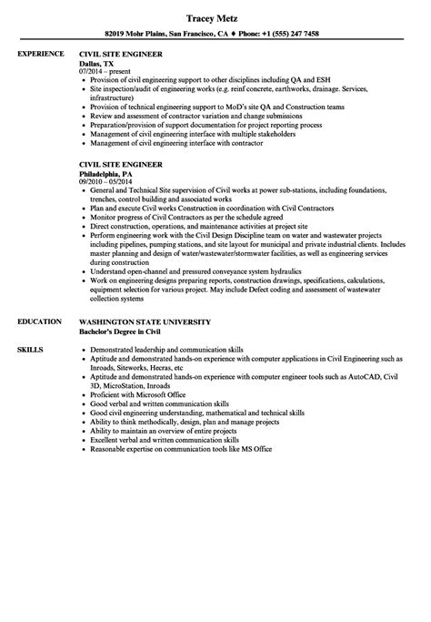civil site engineer resume sles velvet