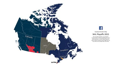 canadian hockey map maps out canadian hockey fans during playoffs