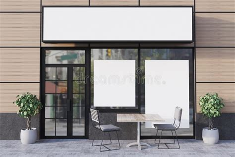 Different Shapes Of Windows Inspiration Beige Cafe Exterior With Two Posters Front Stock Illustration Image 99077015