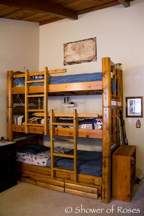 Tri Bunk Bed Shower Of Roses The Boys Bedroom And Bunk Bed Children Toys Pinterest High