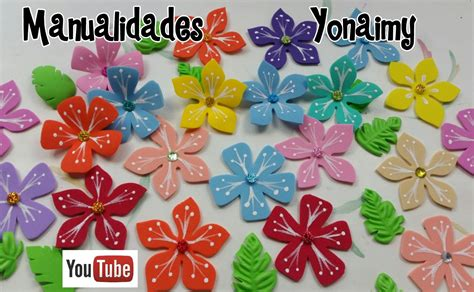 flores de foamy o goma eva planas o con termoformado fino manualidades yonaimy