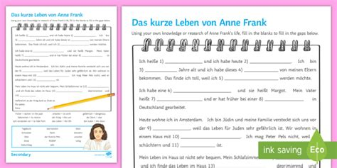 anne frank biography extract anne frank biography worksheet activity sheet german