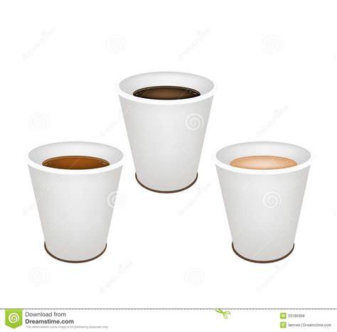 types of coffee mugs three kind of coffee in disposable cups royalty free stock