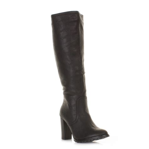 black knee high boots with heel womens block heel knee high black leather style